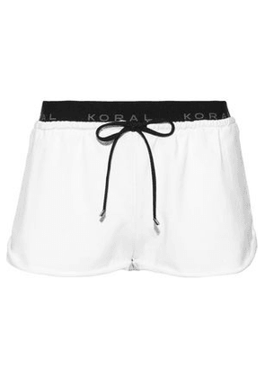 Koral Woman Jacquard-trimmed French Terry Shorts White Size L