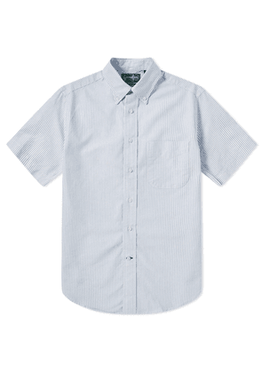 Gitman Vintage Short Sleeve Stripe Oxford Shirt White & Blue