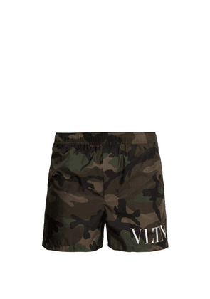 Valentino - Logo Camo Print Swim Shorts - Mens - Green Multi