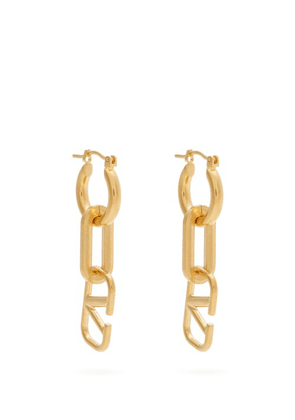 Valentino - Logo And Chainlink Earrings - Womens - Gold