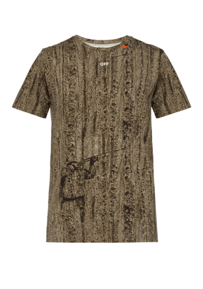 b0729d91d471 Off-white - Logo And Camouflage Print Cotton T Shirt - Mens - Brown