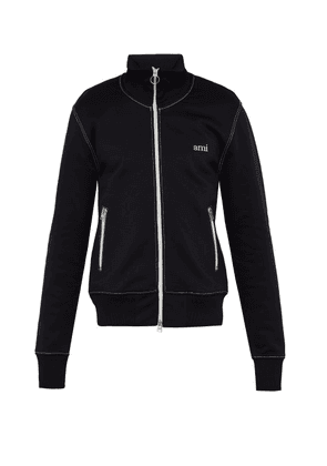 Ami - Logo Embroidered Fleece Backed Jersey Track Jacket - Mens - Black