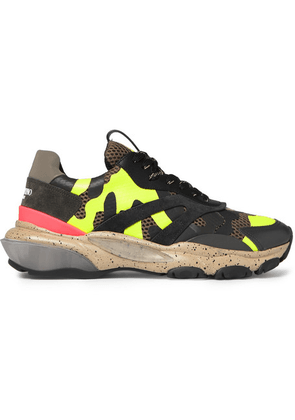 Valentino - Valentino Garavani Bounce Camouflage-print Leather, Mesh And Suede Sneakers - Army green