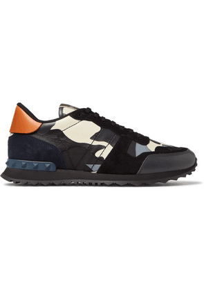 Valentino - Valentino Garavani Rockrunner Camouflage-print Canvas, Leather And Suede Sneakers - Gray