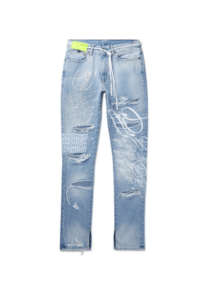 Off-White - + Ev Bravado Slim-fit Crystal-embellished Embroidered Distressed Denim Jeans - Blue