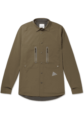 And Wander - Reflective-trimmed Shell And Mesh Shirt - Army green