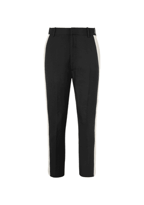 Alexander McQueen - Black Cropped Slim-fit Tapered Striped Wool-blend Trousers - Black