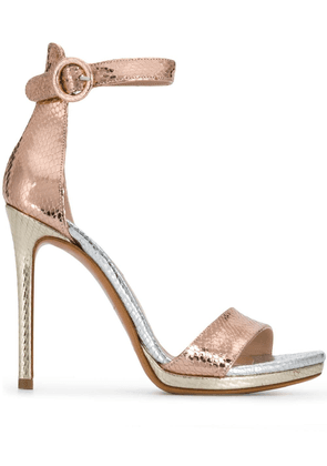 Albano snake-effect sandals - Metallic
