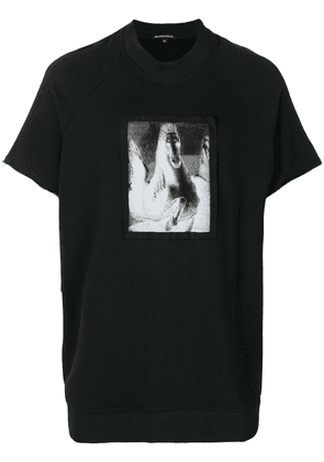 Ann Demeulemeester raw edge inverted horse print T-shirt - Black