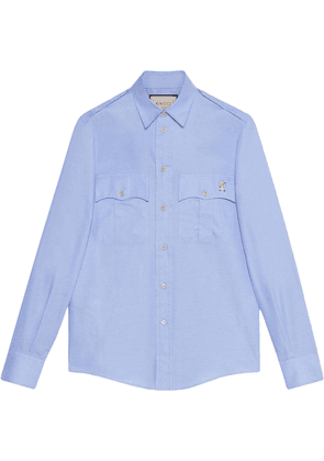 Gucci Oxford shirt with piglet embroidery - Blue