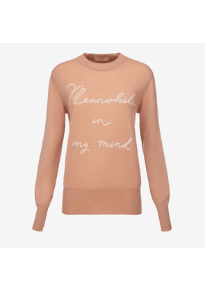 Bally Slogan Jacquard Jumper Pink, Women's wool knit jumper in melrose