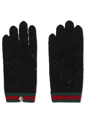 Gucci - Embellished Striped Crocheted Cotton Gloves - Red