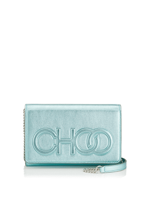 SONIA Cool Mint Metallic Nappa Leather Day Bag with Chain Strap