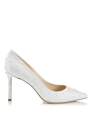 5d458cb0907 ROMY 85 White Moire Fabric Pointy Toe Pumps with Pearl Detailing