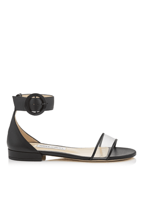 6b56c8e57bfa JAIMIE FLAT Black Nappa Leather and Clear Plexi Sandal with Round Buckle  Fastening