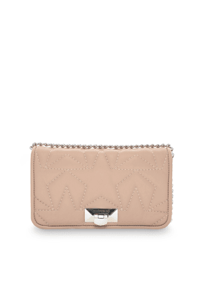 HELIA CLUTCH Ballet Pink Leather Clutch with Chain Strap
