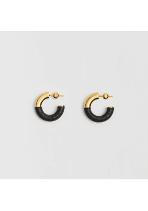 Burberry Leather-wrapped Gold-plated Hoop Earrings, Black