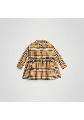 Burberry Childrens Gathered Sleeve Vintage Check Cotton Dress, Size: 6Y, Yellow