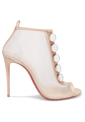 Christian Louboutin - Marika 100 Leather-trimmed Mesh Ankle Boots - Metallic