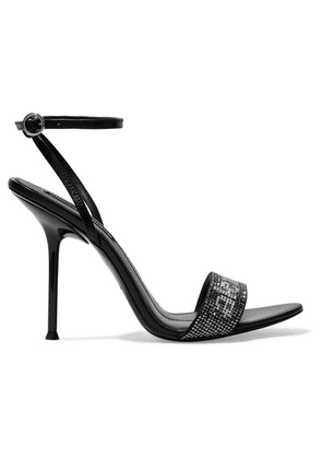Alexander Wang - Jane Crystal Logo-embellished Leather Sandals - Black