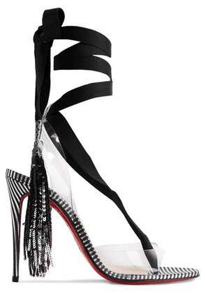 Christian Louboutin - Marie Paillette 100 Embellished Pvc And Satin Sandals - Black
