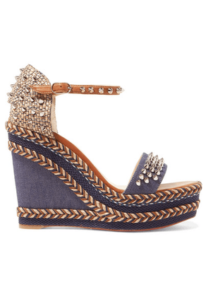 Christian Louboutin - Madmonica 110 Spiked Denim And Leather Espadrille Wedge Sandals - Mid denim