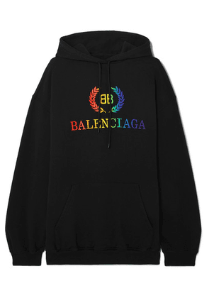 Balenciaga - Laurier Oversized Embroidered Cotton-jersey Hoodie - Black