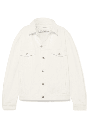 Balenciaga - Oversized Embroidered Denim Jacket - White