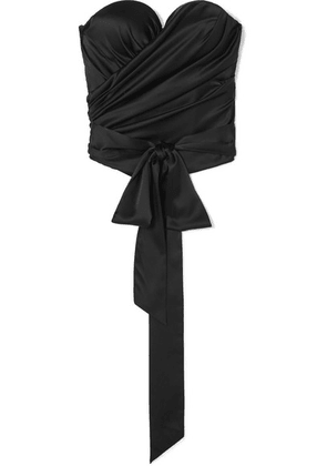 Alexandre Vauthier - Draped Stretch Silk-satin Bustier Top - Black