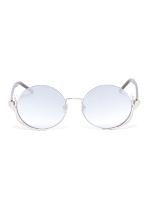 'Ariel' mermaid faux pearl metal rim round sunglasses