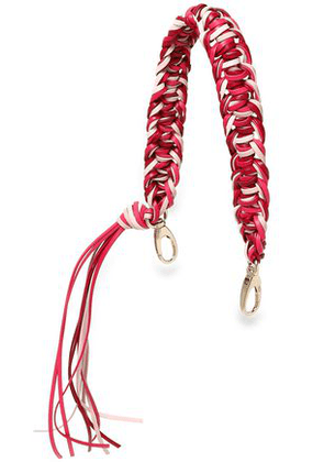 Red(v) Woman Braided Leather Bag Strap Fuchsia Size -