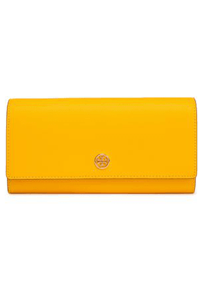 Tory Burch Woman Textured-leather Wallet Bright Yellow Size -