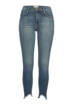 Frame Denim Le High Skinny Triangle Raw Hem Cropped Jeans
