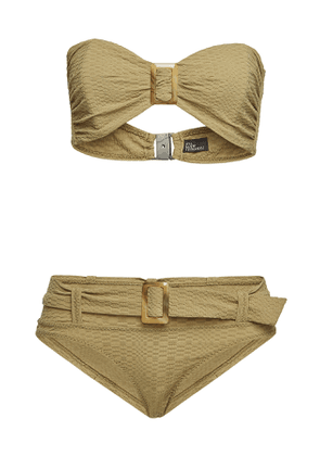 Lisa Marie Fernandez Bandeau Bikini with Buckled Low-Waist Bottoms