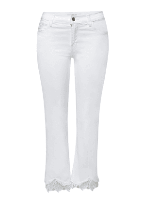 J Brand Selena Mid Rise Crop Boot Jeans with Embroidered Ankles