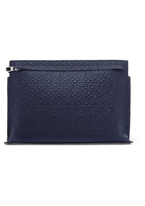 Loewe - T Embossed Leather Pouch - Navy