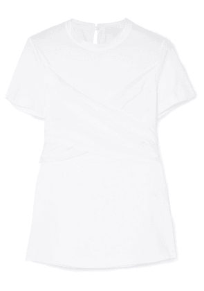 Brunello Cucinelli - Belted Draped Silk-satin And Cotton-jersey T-shirt - White