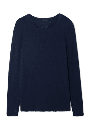 ATM Anthony Thomas Melillo - Distressed Slub Cotton-jersey Top - Midnight blue