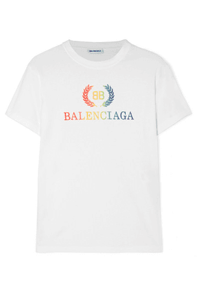Balenciaga - Laurier Embroidered Organic Cotton-jersey T-shirt - White