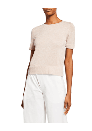 Shimmered Half-Sleeve Sweater