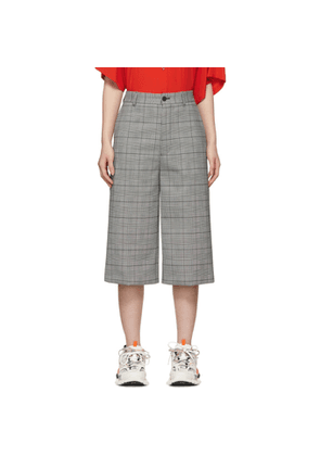 Balenciaga Black & White Houndstooth Cropped Trousers