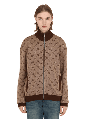 Gg Zip-up Wool Jacquard Track Jacket