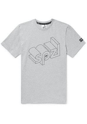 adidas Consortium - Spezial Wireframe Logo-print Mélange Cotton-jersey T-shirt - Gray