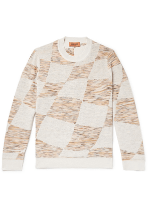 Missoni - Slim-fit Space-dyed Double-faced Intarsia-knit Sweater - Off-white
