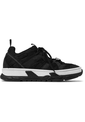 Burberry - Leather And Suede-trimmed Mesh Sneakers - Black