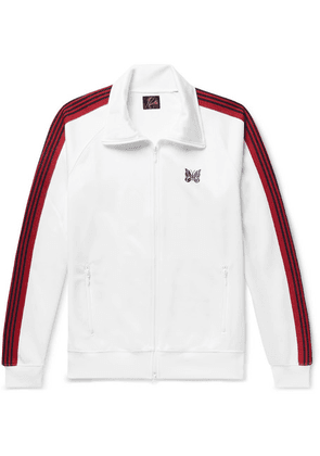 Needles - Embroidered Striped Satin-jersey Track Jacket - White