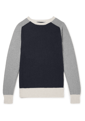 Howlin' - Colour-block Lambswool And Cotton-blend Sweater - Navy