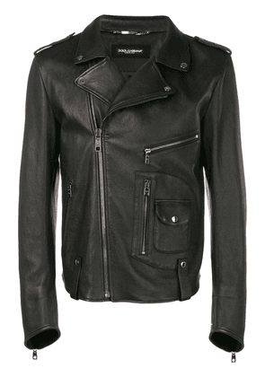 Dolce & Gabbana multizip leather jacket - Black