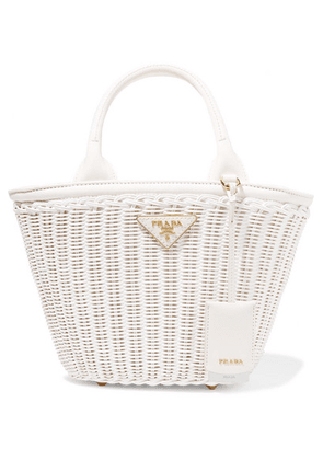Prada - Giardiniera Canvas-trimmed Wicker Tote - White