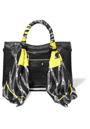 Balenciaga - Classic City Aj Printed Silk-twill-trimmed Textured-leather Tote - Black